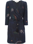 Navy blue Printed Wrap Dress - 4.16