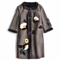 Patch Floral Shearling Long Coat
