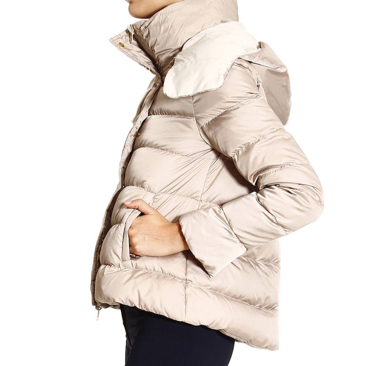 c2af2ff44e Patrizia Pepe SHORT REVERSIBLE REAL DOWN JACKET WITH REMOVABLE HOOD