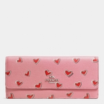 Pink Soft Wallet In Heart Print Crossgrain Leather - 3.29