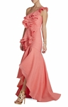 Pink Susanna Ruffled Oneshoulder Gown