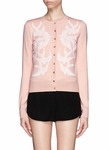 Pink Swallow Jacquard Wool Silk Blend Cardigan
