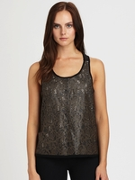 PJK PATTERSON J. KINCAID Gray Rosewater Lasercut Leather Jersey Tank