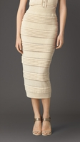 PLEAT DETAIL KNITTED PENCIL SKIRT
