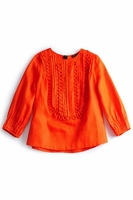 Pleated Bib 1/2 Sleeve Top