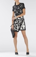 BCBG RAQUEL PRINT-BLOCKED ASYMMETRICAL SKIRT DRESS