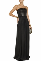 REBECCA TAYLOR Leather-paneled faille maxi dress