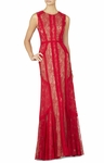 Red Bernadette Floor-Length Sleeveless Dress