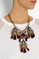 Red Chevron Tassel Goldplated Multistone Necklace