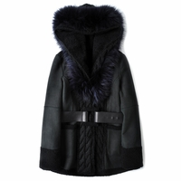 Reversible Shearling Coat with Fox Fur Trim