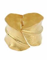 ROBERT LEE MORRIS Sculptural Leaves Hinged Bangle Bracelet