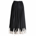 Pleated lace trim maxi skirt