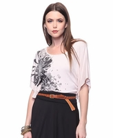Ruched Flower Graphic Top