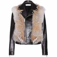 Black Coyote Fur and Leather Jacket