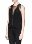 Sandro Black Enoee Lace Trim Chiffon Top - 5.22