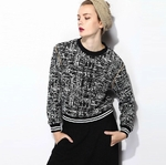 Sandro Black Knitted Cotton Blend Sweatshirt