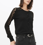 Sandro Black Round-neck Knitted Cardigan - 2.6