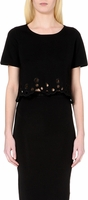 Sandro Black Solen Cut-Out Knitted Top and Skirt
