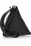 Script Black Leather Pyramid Clutch