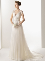 Cap Sleeves Lace Back Gown