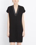 Silk Popover Dress With Leather Trim - 7.20