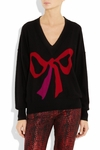 Bow-intarsia cashmere sweater