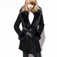Spanish Shearling Leather Coat with Blue Fox Fur Trim