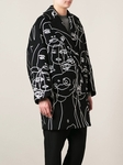 Navy Blue Abstract Faces Coat