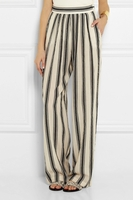 Striped cotton-blend wide-leg pants