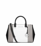 Sutton Tri-Color Saffiano Leather Medium Satchel - 3.22