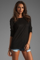 LINEN SILK LONG SLEEVE TEE (Final Sale)
