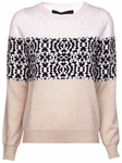 Multicolor Patterned Wool-cotton Knit Sweater