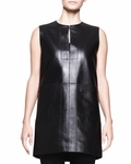 Black Leather Sleeveless Lasner Tunic