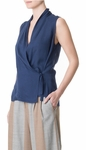 Tibi Blue Wool Gauze Sleeveless Wrap Top