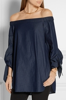TIBI OFF-SHOULDER SATIN POPLIN TUNIC