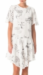 Tibi White Stencil Print Draped Dress - 5.3