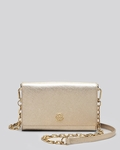 Tory Burch Gold Crossbody Robinson Metallic Wallet On A Chain - 5.30