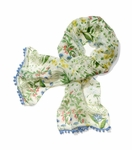 Multicolor Watercolor Botanical Scarf