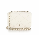 Tory Burch White Robinson Stitched Leather Mini Crossbody Bag - 5.30