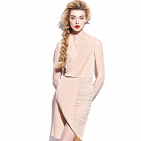 V Neckline Drape Dress