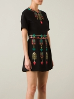 Black Embroidered Pleated Dress