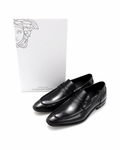 Versace Genuine Leather Moc Toe Loafers- Made in Italy