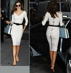 White Satined Crepe Sheath Dress