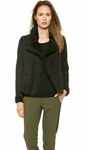 Vince Black Asymmetrical Shearling Jacket Off Whiteolive