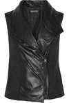 Vince Black Leather-Paneled Linen-Blend Twill Vest - 5.4