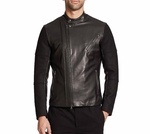 Vince Black Leather-paneled Wool Moto Jacket - 12.21