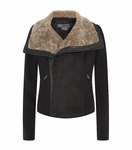 Black Motorcycle Shearling Jacket
