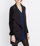 Vince Black Ribbed Sleeve Drape Front Jacket - 7.10