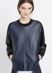 VINCE Colorblocked Leather Pullover - 9.18