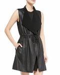 Vince Leather Ponte Draped Long Vest - 9.18